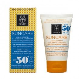 SUNCARE Face Cream for Sensitive Skin SPF50+ with algae & sea lavender.Very high UVA and UVB protection #Hydration #Anti-irritant Effect. Sun care face cream of very high protection (SPF 50+ and UVA 26) with patented propolis that combats photoaging. Ideal for light and sensitive complexions, as well as for skin intolerant to the sun or photosensitive skin after laser sessions. Recommended for use year round. Read more at www.apivita.com