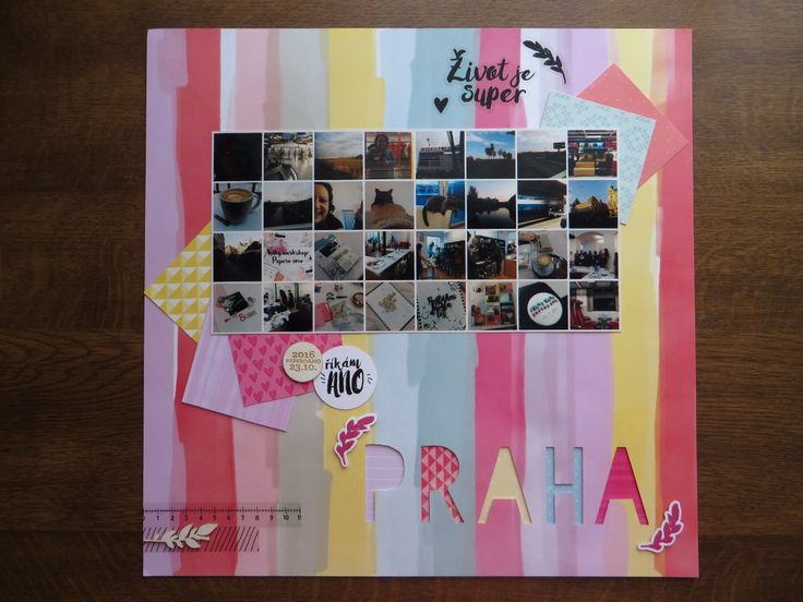 12x12 page about weekend in Prague (including papercrafting workshop) showing the collage of pictures throughout the weekend