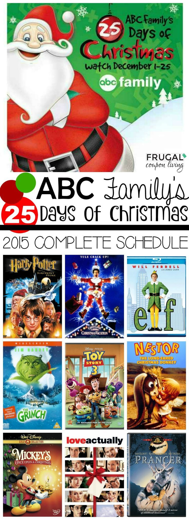 2015 ABC Family 25 Days of Christmas Schedule - Entire list of Movies for the entire Christmas Season December 1 to 25, 2015.