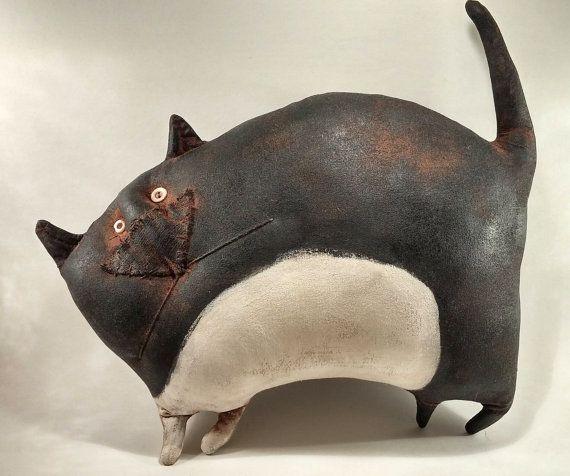 Primitive Prim Folk Art Black & White Tuxedo Cat Doll Wall Shelf Decor / Kitty, Kitten, Halloween, Feline, Handmade, Painted
