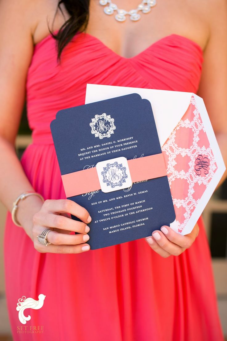 250 best Wedding Invitations images on Pinterest Preppy Blue