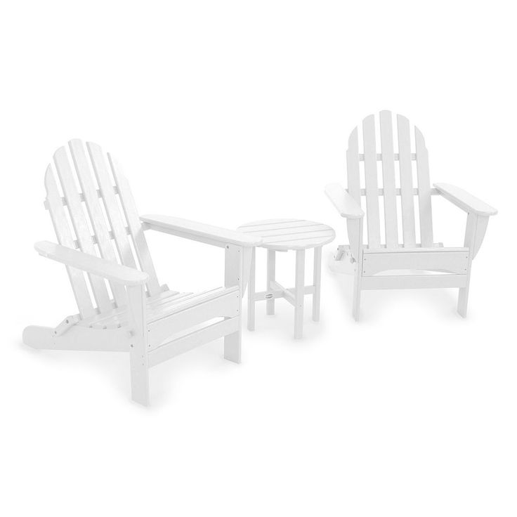POLYWOOD 3-pc. Classic Folding Adirondack Chair Table Set - Outdoor, White