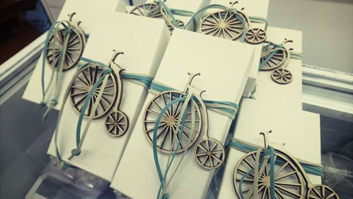 #boxes for #baptism with #wooden #bicycle