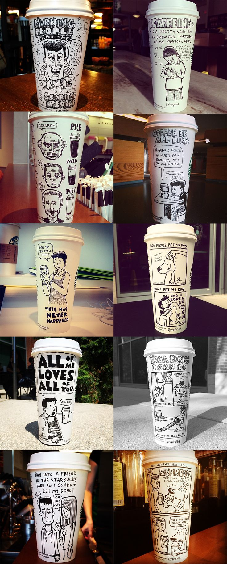 Cartoonist Josh Hara uses the back of his coffee cups as a canvas for funny and intricate comics, ranging in topic from our never-ending coffee addiction to celebrity spoofs and more.