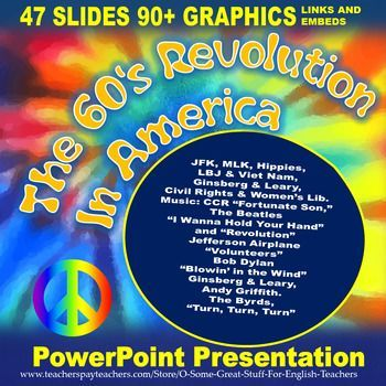 Created with PowerPoint 2010.  This PowerPoint offers a vibrant and dynamic presentation of the events that shaped the revolution of the 1960s in America.  There are 47 slides. The discussion begins with the election of John F. Kennedy and the optimism and hope that his presidency generated.#hippies #60s #americanhistory #60music