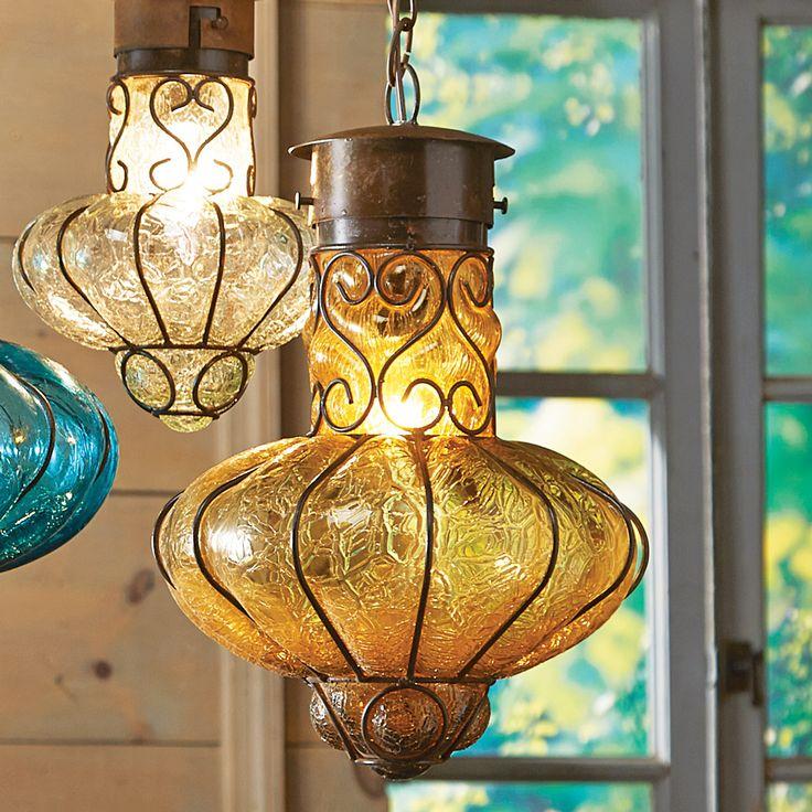 Southwestern Flower Glass Pendant Light