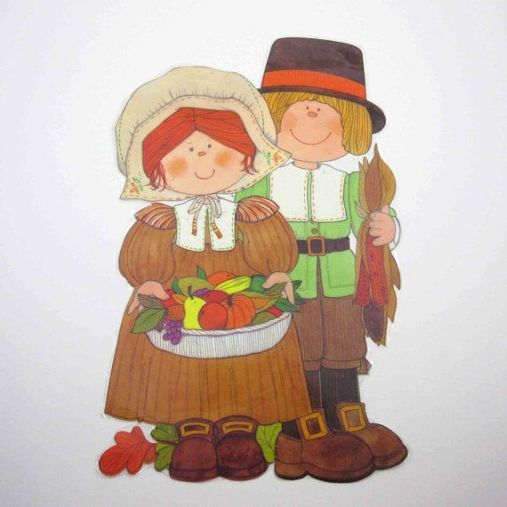 Vintage Cute Boy and Girl Pilgrims Die Cut by grandmothersattic