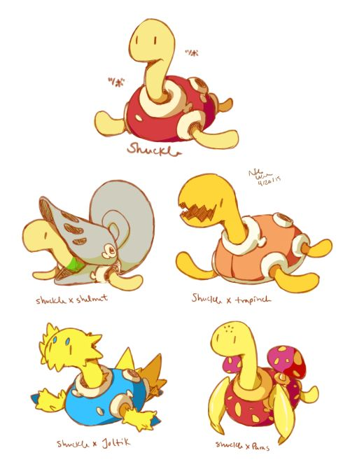I tried that pokemon variations thing that is going around! I drew shuckle with some others in the bug egg group!