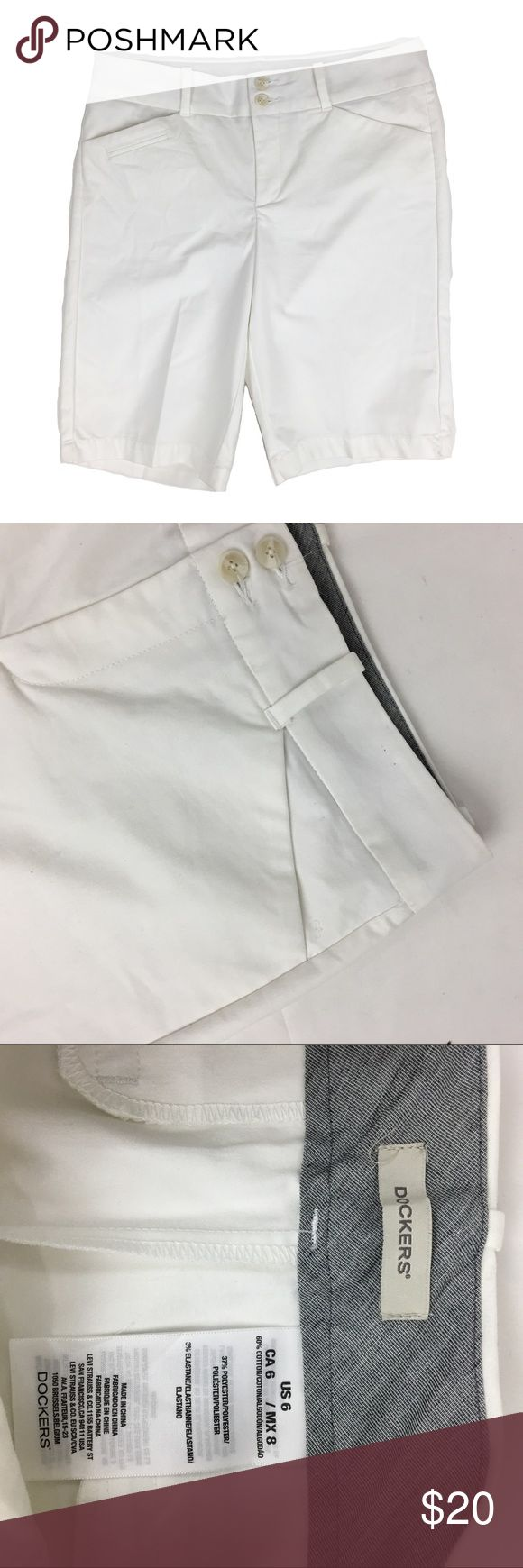 NWOT Dockers white size 6 women's capris shorts **** IF YOU THINK OUR AFFORDABLE PRICES ARE TOO HIGH FOR YOU, MAKE A REASONABLE OFFER ON ANY OF THE ITEMS IN OUR STORE AND WE MAY ACCEPT IT****     - Size:  - Material:  - Condition: EXCELLENT, brand new  - Color:  - Pockets:  - Lined: n/a - Closure:  - Pair with:    *Measurements:   Bust:  WAIST: Length:  SLEEVE: Rise: Inseam:   * The more you buy the more you save. Feel free to ask any questions. Thank you for stopping by. * Dockers Shorts