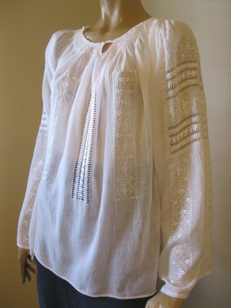 Romanian peasant blouse - hand embroidered white   flowers and lace - size M by RealRomania on Etsy