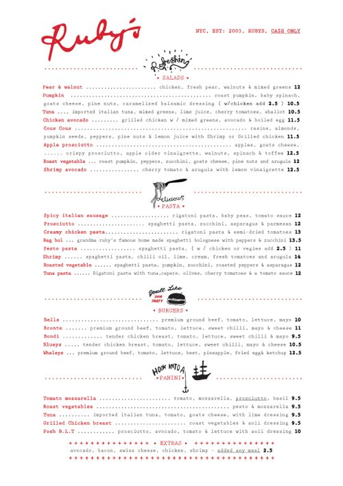 Art of the Menu: Ruby's Cafe