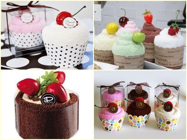 Toallas de mano con forma de cupcakes - Recuerdos de boda en forma de cupcakes