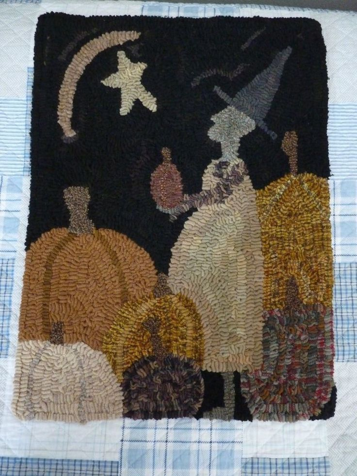 Hand Hooked Wool Rug OOAK  Halloween Witch Pumkin Signed By Artist