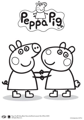 peppa pig and friends  colouring in  printable  bub hub