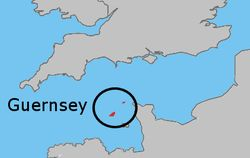 Location of  Guernsey  (States of Guernsey within circle)