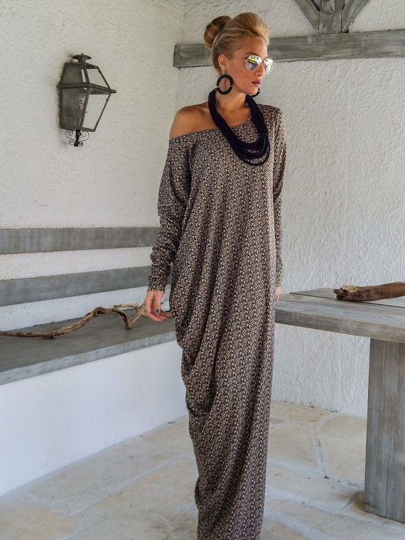 Fall Winter Knitted Asymmetric Maxi Dress Kaftan by SynthiaCouture More
