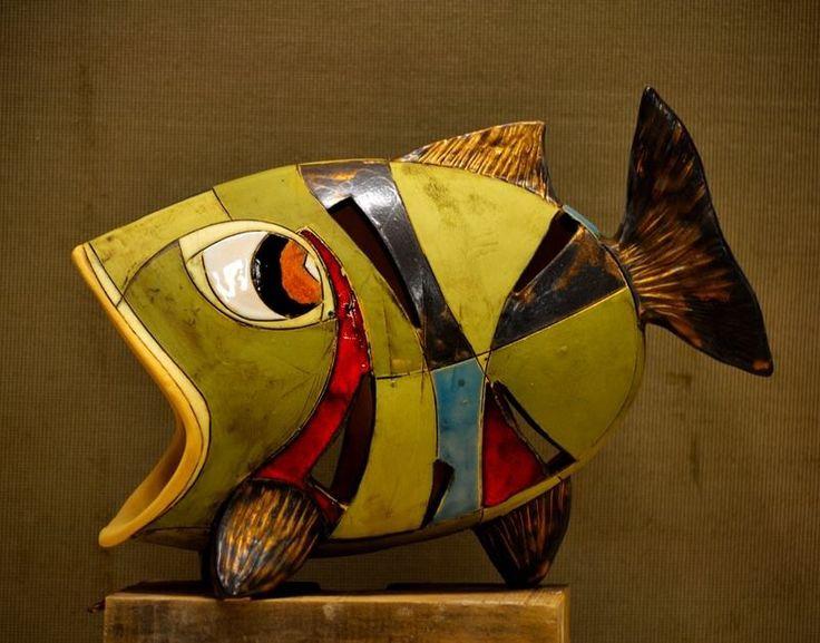 Hand built ceramic fish
