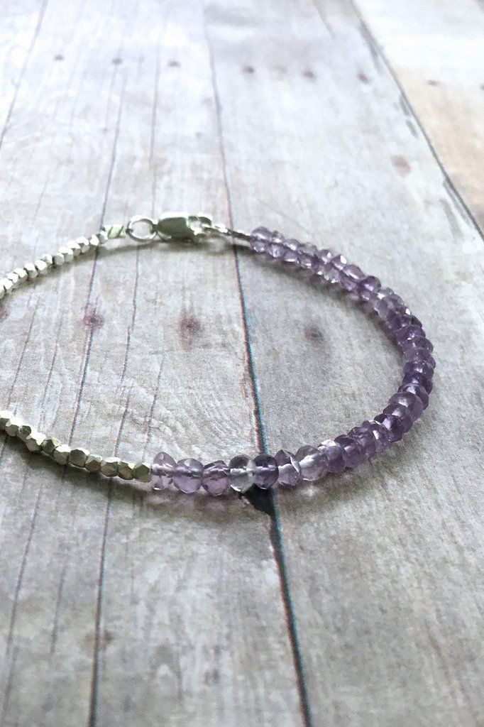Amethyst Bracelet, Lavender Semi Precious Stone Jewelry, Tiny Hill Tribe Silver Bead Bracelet, February Birthstone Jewelry