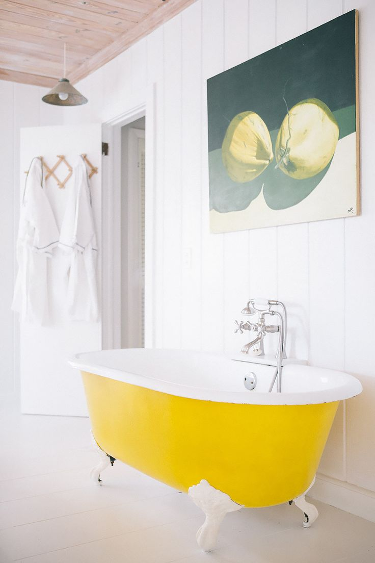 Bright and sunny colour in a small space. Get inspired by yellow at http://insplosion.com/inspirations