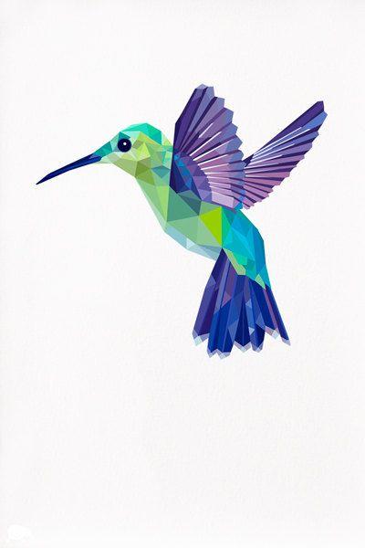 Hummingbird Geometric illustration Bird print by TinyKiwiCreations