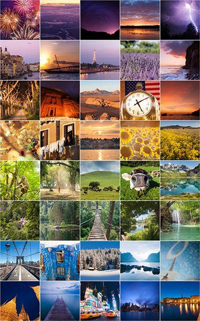 Collage vakantie in regenboogkleuren