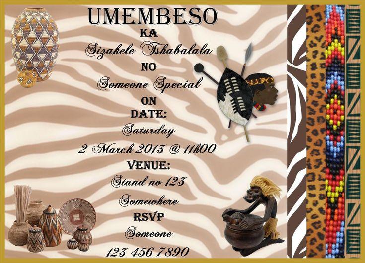 umembeso invites zulu in 2019  engagement invitation