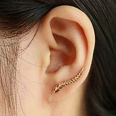 Boucles d'oreille goujon Poignets oreille Mode Elegant Forme de Feuille Ailes / Plume Argent Doré Bijoux Pour Quotidien Décontracté1