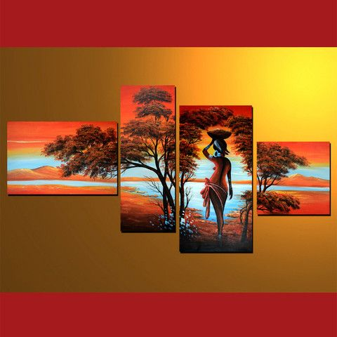 GMD4002  4-PCS Group Oil Painting