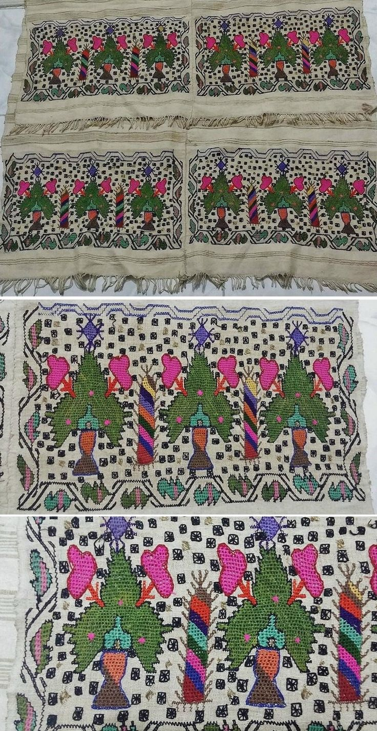 Embroidered 'örtü' (covering) from the Afyon region, ca. late 19th century. Rural style embroidery in multi-coloured silk on cotton. Technique: 'hesap işi' (counted thread). Size: 158 x 86 cm. Height of the embroidery: 25 cm. (Source: Tekin Uludoğan, Balıkesir).