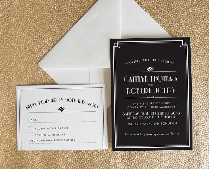 art deco style estelle wedding invitation by project pretty | notonthehighstreet.com