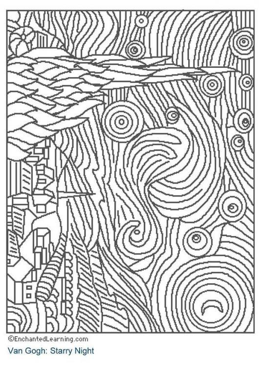 """Colorear """"Cielo estrellado"""". Vicent Van Gogh"""