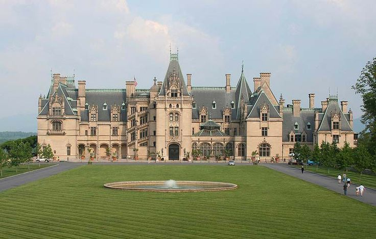Biltmore Estate, designed by Richard Morris Hunt, Asheville, North Carolina. In the 1880s, at the height of the Gilded Age, George Washington Vanderbilt II, youngest son of Wm Henry Vanderbilt, began to make regular visits to the Asheville, NC area. He loved the scenery & climate so much he decided to create his own summer estate in the area. Biltmore House is a Châteauesque-styled mansion built 1889-95 & is the largest privately-owned home in the U.S. with 250 rooms.