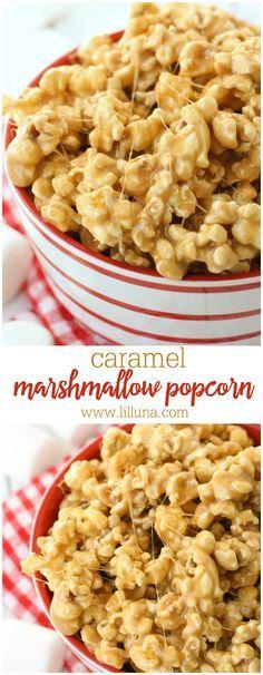 5-Minute Caramel Marshmallow Popcorn recipe - SOOO good and gooey!