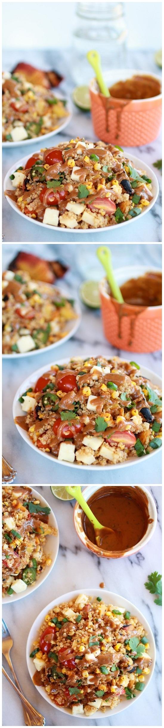 BBQ Grilled Corn, Jalapeño and Peach Quinoa Salad