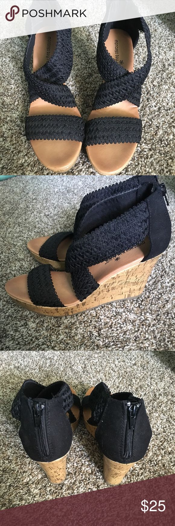 Black strappy wedges Black strappy wedge heels size 8. Worn once. NO TRADES Shoes Wedges