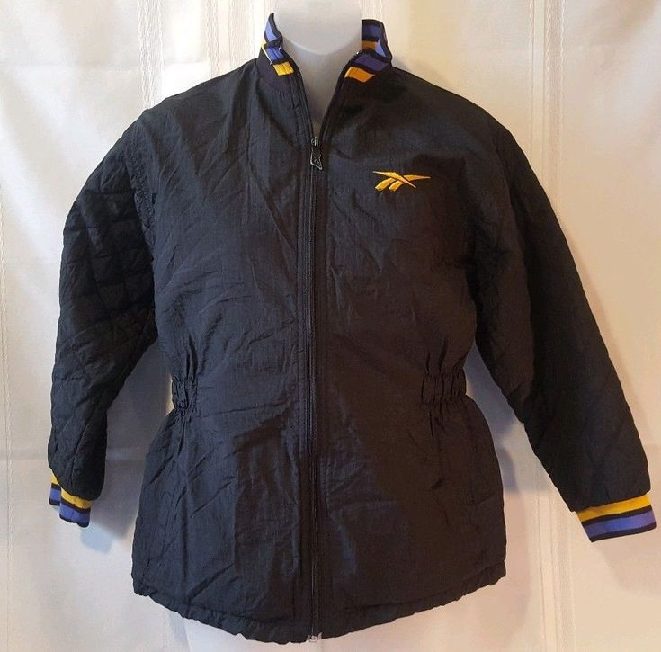 Vintage Reebok Womens Coat Size M Black Purple and Gold #Reebok #CoatsJackets