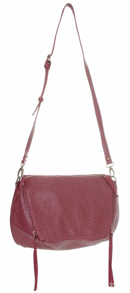 Red Messenger Handbag With Suede Detail