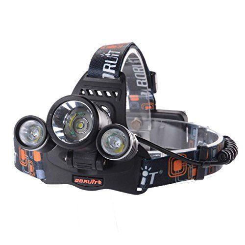 Theoutlettablet® Foco Frontal / Linterna 5000LM 3x CREE XM-L T6 LED Faro Headlamp Headlight Lámpara de Bicicleta Frontal Cycling Light Luz + 2 X 18650 Batería Recargable con arnes de cabeza