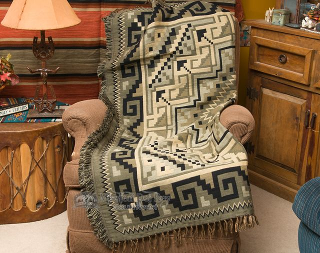 Southwestern Throw Blanket 50x60 -Navajo Brown - Mission Del Rey Southwest