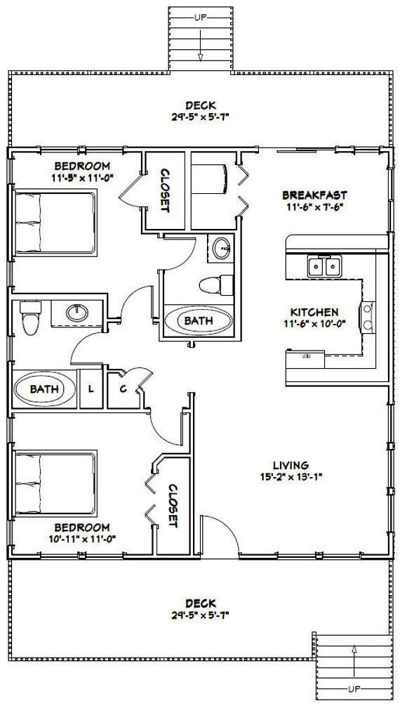 30x32 House 2 Bedroom 2 Bath 960 Sq Ft Pdf Floor Plan Etsy Small House Floor Plans 1200 Sq Ft House Cabin Floor Plans