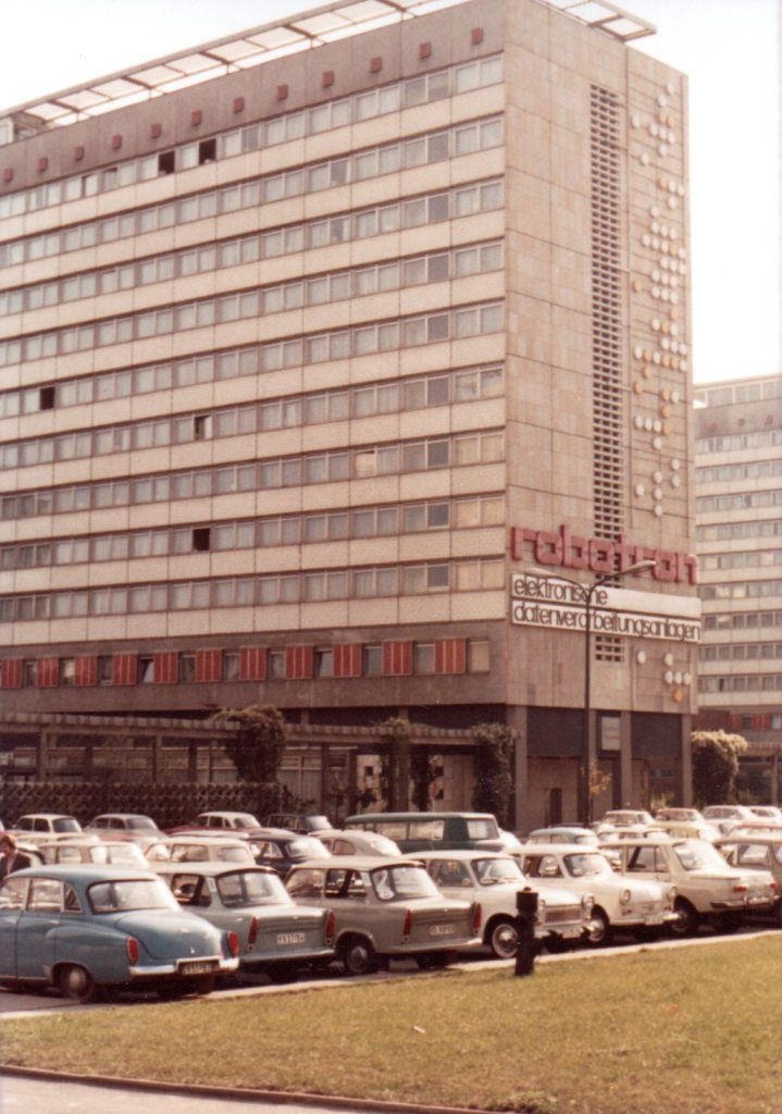 Car park at Robotron computer offices and factory, East Germany, 1973