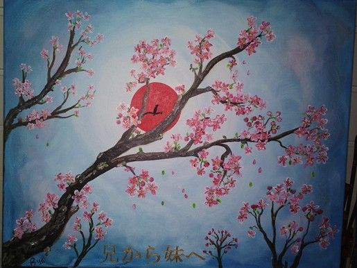 My nr. 12 painting. For my sister. Japanese cherry blossom