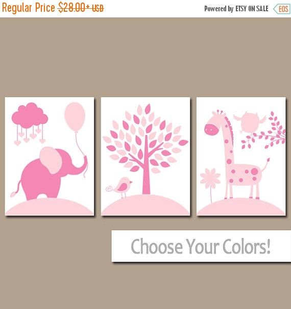 ❘❘❙❙❚❚ ON SALE ❚❚❙❙❘❘ ★PINK NURSERY Wall Art, CANVAS or Prints, Baby Girl Nursery Decor, Elephant Giraffe Tree, Jungle Safari Animals, Set of 3 Crib Artwork ★Includes 3 pieces of wall art ★Available in PRINTS or CANVAS (see below) ★SIZING OPTIONS Available from the drop down menu above the add to cart button with prices. >>> ★PRINT OPTION Available sizes are 5x7, 8x10, & 11x14 (inches). Prints are created digitally and printed with UltraChrome Hi-Gloss ink on professional ...