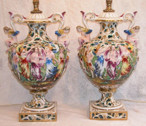 Exceptional Capodimonte+lamps | Antique Capo Di Monte Lamp (03/17/2011)