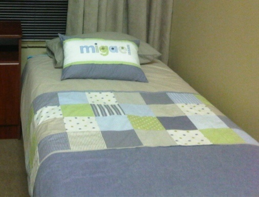 3/4-Bed Duvet cover - patchwork style - in shades of stone, blue & green. Made by Tula-tu Baby Linen