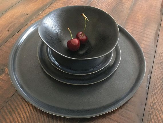 Black Dinnerware Set Handmade Dinnerware Set by tqdceramics