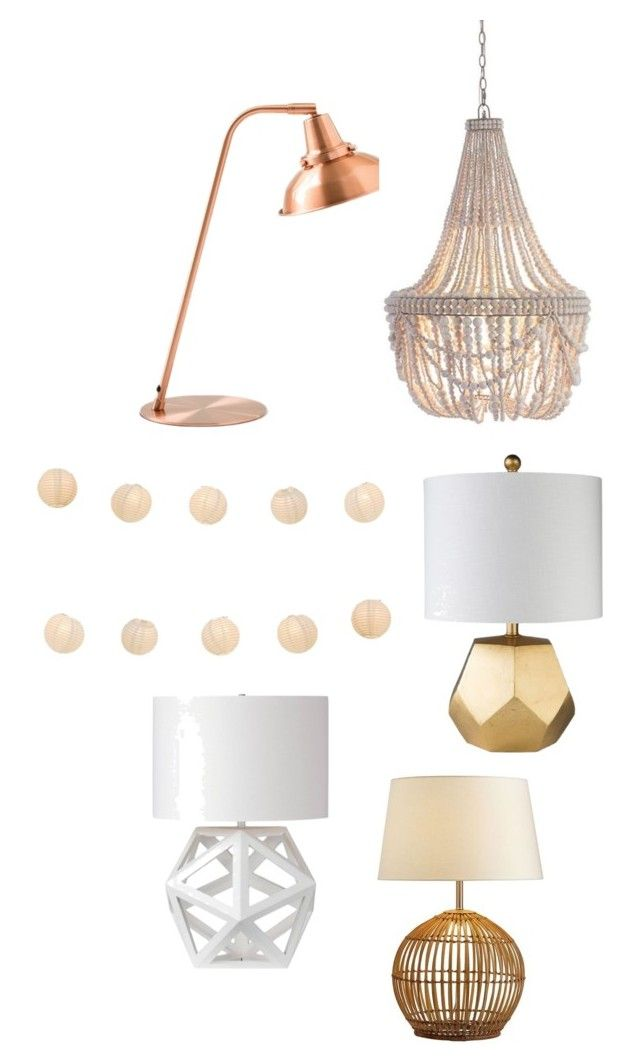 """Lighting"" by delightfullystyled on Polyvore featuring interior, interiors, interior design, home, home decor, interior decorating, Pottery Barn, LumaBase, Décor 140 and Renwil"