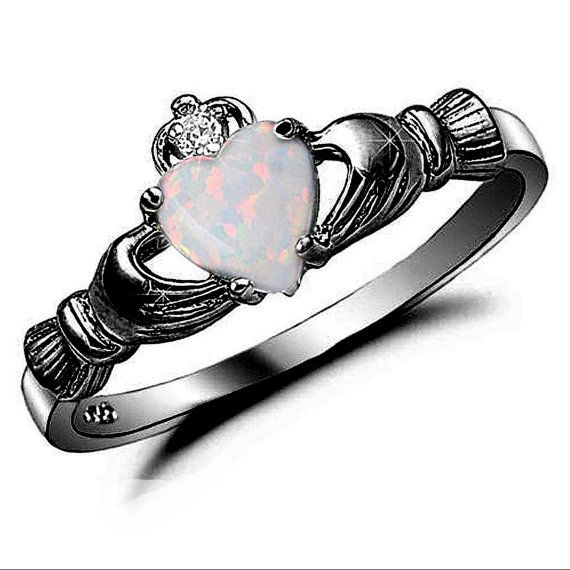 Claddagh Ring Black Gold 925 Sterling Silver 0.75 Carat Created Fiery Opal CZ accent Promise Wedding Engagement Anniversary Ring Love Gift