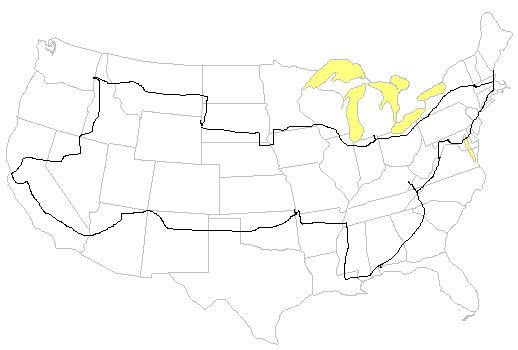Shortest route to both U.S. coasts through 48 states.