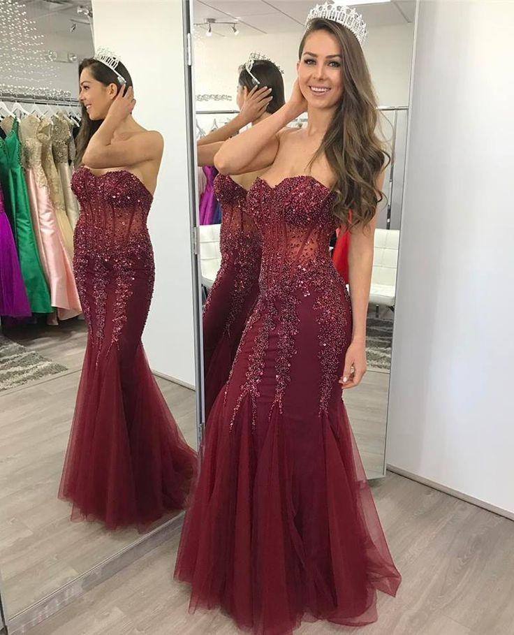 Strapless Burgundy Mermaid Prom Dress,Mermaid Formal Dress,Beaded Pageant Prom Gown,2161